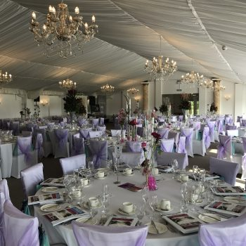 white and lilac table and chair decor