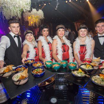 waiting staff serving bowl food