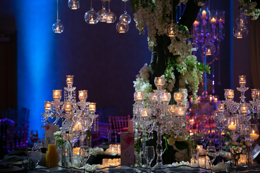 crystal candelabras on a table